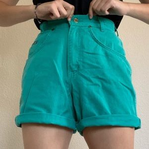 Vintage Teal High Waisted Shorts